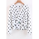 New Arrival Ruched Wrap V-Neck Long Sleeve Polka Dots Color Block Blouse