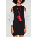 New Trendy Chic Cold Shoulder Round Neck Long Sleeve Color Block Mini Shift Dress