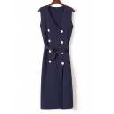 New Arrival V-Neck Sleeveless Double Button Belt Waist Tunic Cardigan