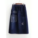 New Arrival Fashion Geometric Sketch Drawstring Waist Midi A-Line Denim Skirt