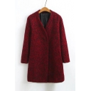 V-Neck Long Sleeve Double Snap-Fasteners Plain Tunic Woolen Coat
