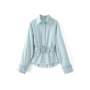 Fashion Simple Plain Lapel Collar Long Sleeve Chambray Shirt with Belt Waist