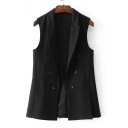 New Fashion Notched Lapel Collar Double Breasted Simple Plain Vest Coat