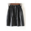 Chic Buttons Down Elastic Waist Mini Plain A-Line Leather Skirt