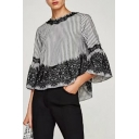 Chic Lace Inserted Striped Pattern Round Neck Flared Sleeve Blouse