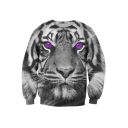 Fashion 3D Purple Eyes Tiger Pattern Long Sleeve Round Neck Sweatshirt