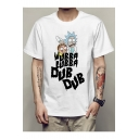 Casual Leisure Short Sleeve Round Neck Cartoon Printed Unisex Tee
