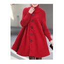 Casual Loose Oversize High Neck Long Sleeve Buttons Down Plain Cape Coat