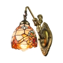 Single Light Tiffany Glass Shade Victorian Wall Sconce with Mermaid Lamp Arm