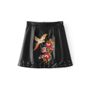 Chic Floral Bird Embroidered Studded Embellished Mini A-Line PU Skirt