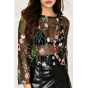 Chic Floral Embroidered Round Neck Long Sleeve Sexy Sheer Mesh Top