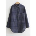 Loose Lapel Long Sleeve Single Breasted Plaid Shirt with One Pocket