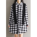 Classic Plaids Pattern Lapel Collar Long Sleeve Buttons Down Shirt Dress