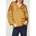 Casual V-Neck Long Sleeve Polka Dots Printed High Low Hem Blouse Top