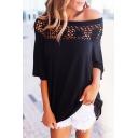 Fashion Off the Shoulder Lace Patchwork Half Sleeve Plain T-Shirt