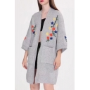 New Fashion Floral Embroidered Open Front Long Sleeve Longline Cardigan with Double Pockets