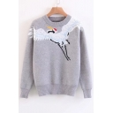 Chic Crane Jacquard Round Neck Long Sleeve Comfort Leisure Sweater