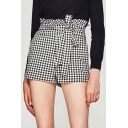 Chic Bow Tie Waist Zip Side Classic Plaids Pattern Shorts