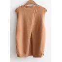Fashion Split Back Sleeveless Round Neck Plain Pullover Sweater
