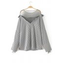 Sheer Mesh Patchwork Striped Dropped Long Sleeve Blouse