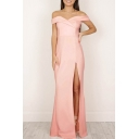 Sexy Off the Shoulder Short Sleeve Split Front Plain Maxi Dress