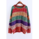 Fashion Striped Color Block Dropped Long Sleeve Round Neck Pullover Sweater