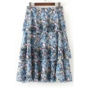 Summer's Chic Floral Printed Fashion Layered Midi A-Line Skirt