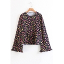 Fashion Floral Pattern Round Neck Long Sleeve Pullover Blouse