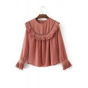 Fashion Stringy Selvedge Round Neck Long Sleeve Flared Cuff Plain Blouse
