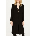New Arrival Basic Plain Long Sleeve Double Pockets Trench Coat with Single Button