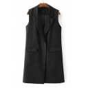 Simple Plain Notched Lapel Collar Single Button Vest Coat with Double Pockets