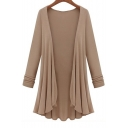Chic Women's Open Front Long Sleeve Asymmetric Hem Plain Tunic Coat