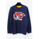 New Arrival Embroidery Tiger Pattern Long Sleeve Round Neck Pullover Sweater
