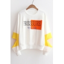 Fashion Letter Printed Color Block Hollow Sleeve Round Neck Sweatshirt