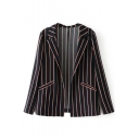 Notched Lapel Open Front Long Sleeve Striped Color Block Blazers