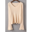 Chic Tassel Long Sleeve V-Neck Plain Pullover Sweater