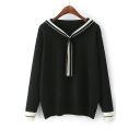 Round Neck Long Sleeve Fashion Bow Tie Front Color Block Sweater