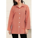 Basic Simple Plain Long Sleeve Lapel Collar Buttons Down Cotton Shirt
