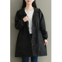 Fashion Elastic Waist Simple Plain Hooded Long Sleeve Zip Up Longline Coat