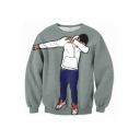 Fashion Digital Cartoon Boy Pattern Long Sleeve Round Neck Sweatshirt