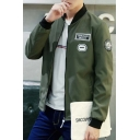 Letter Printed Casual Leisure Stand-Up Collar Zip Up Bomber Jacket