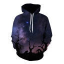Hot Fashion Digital Galaxy Pattern Loose Leisure Hoodie for Couple