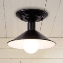 Industrial Semi Flush Mount Lighting in Polished Black