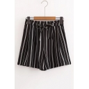 Classic Striped Printed Elastic Drawstring Waist Loose Culottes Shorts