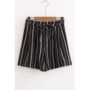 Classic Striped Printed Elastic Drawstring Waist Loose Culottes Shorts