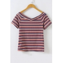 New Arrival Fashion Colorful Striped Print V Neck Short Sleeve Knit Sweater