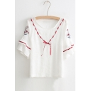 New Arrival Cute Bow Embellished Round Neck Floral Embroidered Short Sleeve T-Shirt