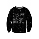 New Collection Galaxy Letter Pattern Long Sleeve Round Neck Pullover Sweatshirt