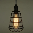 Black 1 Light Wrought Iron LED Mini Pendant with Wire Cage