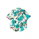 Summer's Holiday Coconut Palm Printed Lapel Collar Short Sleeve Buttons Down Shirt